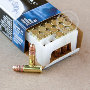 rounds of .22 Long Rifle ammo with copper plated round nose bullets made by Federal.