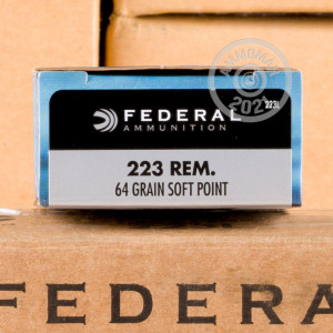 Photograph showing detail of .223 REM FEDERAL POWER-SHOK 64 GRAIN SP (20 ROUNDS)