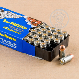 A photograph detailing the 9x18 Makarov ammo with FMJ bullets made by Silver Bear.