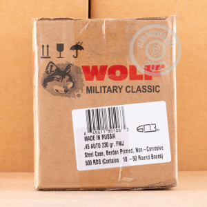 A photo of a box of Wolf ammo in .45 Automatic.