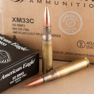 A photograph detailing the .50 BMG ammo with FMJ bullets made by Federal.