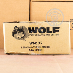Photograph showing detail of 5.56X45 WOLF GOLD 55 GRAIN FMJ (1000 ROUNDS) (BRASS CASE)