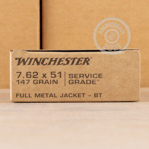 A photograph of 200 rounds of 147 grain 308 / 7.62x51 ammo with a FMJ-BT bullet for sale.