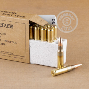 A photograph detailing the 308 / 7.62x51 ammo with FMJ-BT bullets made by Winchester.