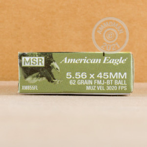 Image of the 5.56 NATO FEDERAL 62 GRAIN FULL METAL JACKET (500 ROUNDS) available at AmmoMan.com.