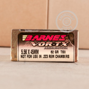 A photo of a box of Barnes ammo in 5.56x45mm.