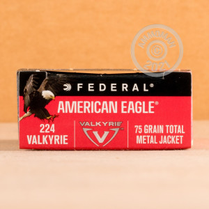 Photo detailing the 224 VALKYRIE FEDERAL AMERICAN EAGLE 75 GRAIN TMJ (20 ROUNDS) for sale at AmmoMan.com.