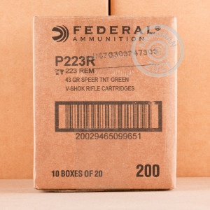 Image of the 223 REM FEDERAL V-SHOK 43 GRAIN SPEER TNT GREEN HP (20 ROUNDS) available at AmmoMan.com.