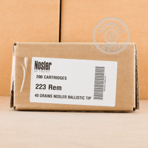 A photo of a box of Nosler Ammunition ammo in 223 Remington.