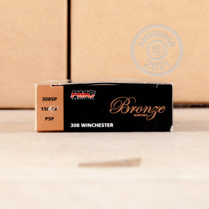 Image of bulk 308 / 7.62x51 ammo by PMC that's ideal for big game hunting, hunting wild pigs, whitetail hunting.