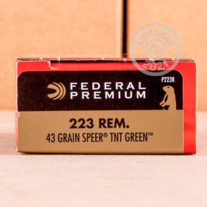 Photo detailing the 223 REM FEDERAL V-SHOK 43 GRAIN SPEER TNT GREEN HP (200 ROUNDS) for sale at AmmoMan.com.
