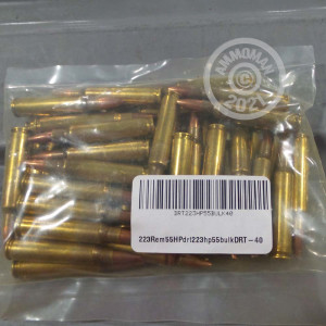 A photograph detailing the 223 Remington ammo with Pre-Fragmented bullets made by Dynamic Research Technologies.