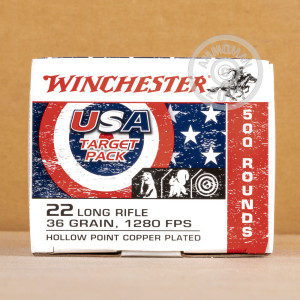 rounds of .22 Long Rifle ammo with copper plated hollow point bullets made by Winchester.
