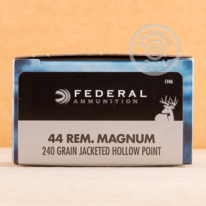 A photograph detailing the 44 Remington Magnum ammo with JHP bullets made by Federal.