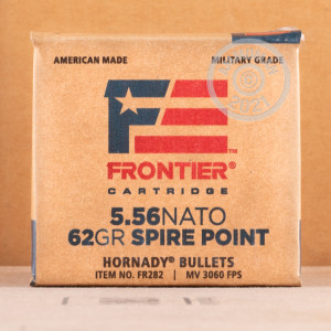 Photograph showing detail of 5.56X45 HORNADY FRONTIER 62 GRAIN SP (600 ROUNDS)