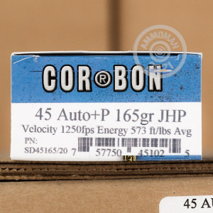 A photograph detailing the .45 Automatic ammo with JHP bullets made by Corbon.
