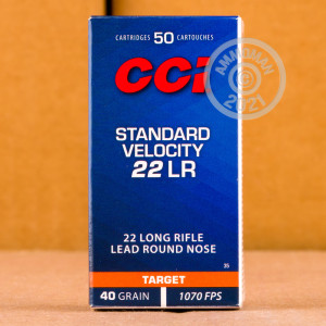 Photograph of .22 Long Rifle ammo with Lead Round Nose (LRN) ideal for training at the range.