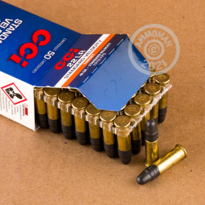 rounds of .22 Long Rifle ammo with Lead Round Nose (LRN) bullets made by CCI.