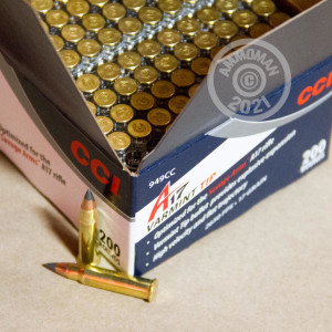 Photograph of 17 HMR ammo with Polymer Tipped ideal for hunting varmint sized game.