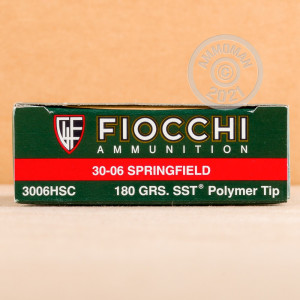 Image of 30.06 Springfield ammo by Fiocchi that's ideal for big game hunting, hunting wild pigs, whitetail hunting.