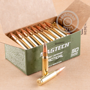 A photograph detailing the 308 / 7.62x51 ammo with FMJ bullets made by Magtech.
