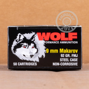 Image detailing the steel case and berdan primers on the Wolf ammunition.