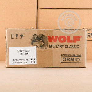 Image of the 308 WIN WOLF MILITARY CLASSIC 168 GRAIN SP (500 ROUNDS) available at AmmoMan.com.