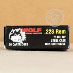 Photograph showing detail of 223 REM WOLF PERFORMANCE 75 GRAIN HP (20 ROUNDS)