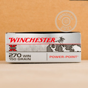 A photograph of 20 rounds of 150 grain 270 Winchester ammo with a Power-Point (PP) bullet for sale.