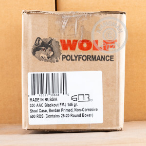 Photo detailing the 300 AAC BLACKOUT WOLF 145 GRAIN FMJ (500 ROUNDS) for sale at AmmoMan.com.