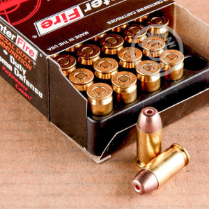 A photograph detailing the .45 Automatic ammo with JHP bullets made by SinterFire.
