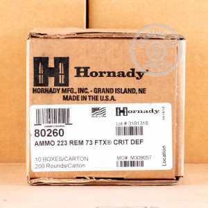 Photograph showing detail of 223 REM HORNADY CRITICAL DEFENSE 73 GRAIN FTX (20 ROUNDS)