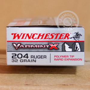 Image of the 204 RUGER WINCHESTER VARMINT-X 32 GRAIN PT (20 ROUNDS) available at AmmoMan.com.
