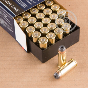 A photograph of 500 rounds of 200 grain 44 Special ammo with a semi-jacketed hollow-Point (SJHP) bullet for sale.