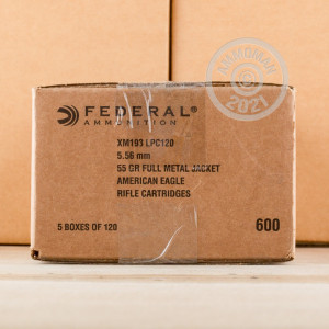 Image of the 5.56 NATO FEDERAL LAKE CITY 55 GRAIN FMJ-BT (600 ROUNDS) available at AmmoMan.com.