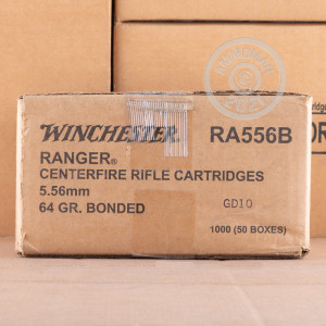 Photograph showing detail of 5.56X45 WINCHESTER RANGER 64 GRAIN BONDED SOLID BASE (20 ROUNDS)