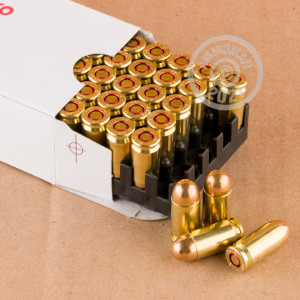 A photograph detailing the 9x18 Makarov ammo with FMJ bullets made by Mesko.
