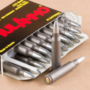 Photo detailing the 223 REM TULA 55 GRAIN FMJ STEEL CASE (1000 ROUNDS) for sale at AmmoMan.com.