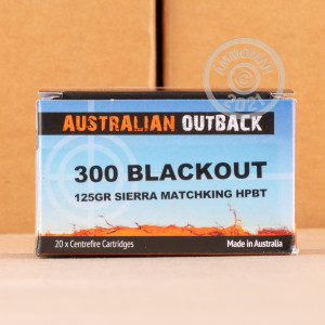 Image of 300 AAC Blackout ammo by Australian Outback that's ideal for big game hunting, hunting wild pigs, whitetail hunting.