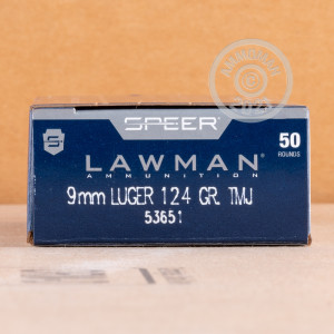 A photograph detailing the 9mm Luger ammo with TMJ bullets made by Speer.