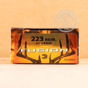 Photo detailing the 223 REMINGTON FEDERAL FUSION 62 GRAIN SP (200 ROUNDS) for sale at AmmoMan.com.