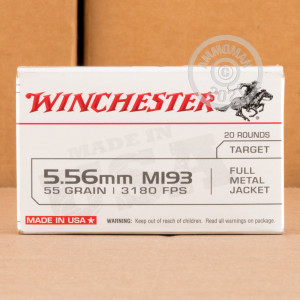 An image of 5.56x45mm ammo made by Winchester at AmmoMan.com.