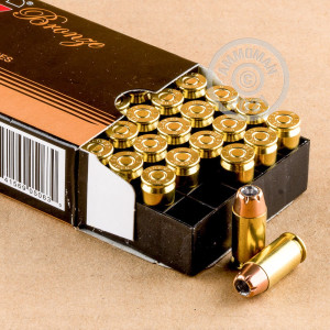 Image detailing the brass case and boxer primers on the PMC ammunition.