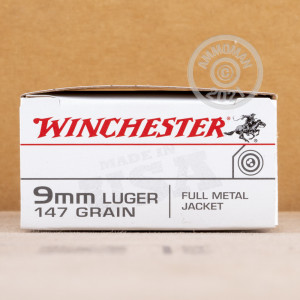 Image of 9mm Luger ammo by Winchester that's ideal for training at the range.
