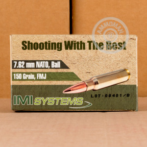 Image of 308 / 7.62x51 ammo by Israeli Military Industries that's ideal for training at the range.