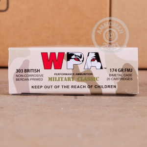An image of bulk 303 British ammo made by Wolf at AmmoMan.com.