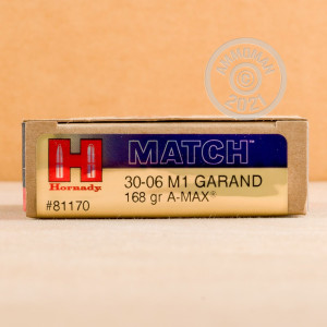 An image of 30.06 Springfield ammo made by Hornady at AmmoMan.com.