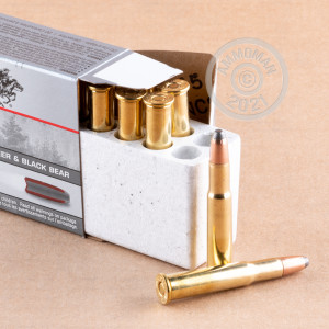 Image of 30-30 Winchester ammo by Winchester that's ideal for hunting wild pigs, whitetail hunting.