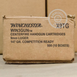 Image of 9mm Luger ammo by Winchester that's ideal for precision shooting, shooting indoors, training at the range.