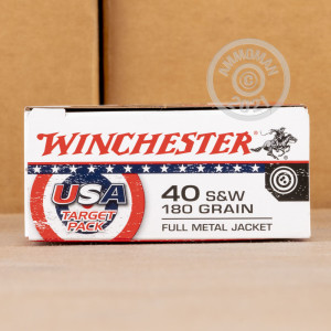 Image of .40 Smith & Wesson ammo by Winchester that's ideal for training at the range.